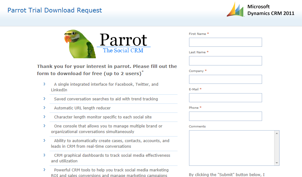 Social Integration for Microsoft CRM 2011 with Parrot